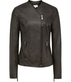 Womens Olive Collarless Leather Jacket - Reiss Rivington