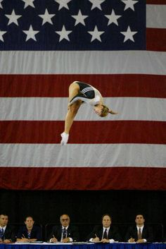 Amanda Bailey (USA) performing on the trampoline high above the judges