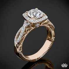 18k Rose Gold Verragio 4 Prong Cushion Halo Diamond Engagement Ring from the Verragio Venetian Collection.