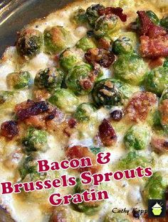 Bacon and Brussels Sprouts Gratin. Bacon, cheese and Brussels Sprouts all baked in a creamy sauce. Very easy recipe and of course absolutely delicious!   #Brusselssprouts #bacon #cheese #Thanksgiving #Christmas