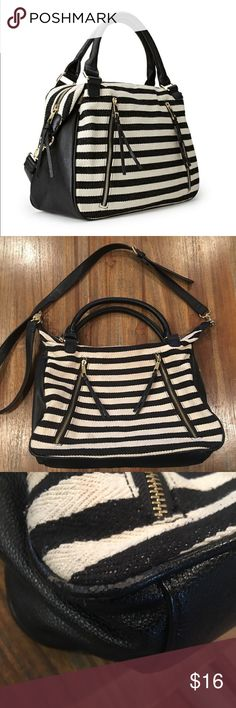 Off White & Black Striped Canvas Shoulder Bag Canvas material with Faux leather and Gold Hardwear. Good Used condition. Shows a few signs of wear at edges (see 3rd pic) and small spot by zipper (see 5th pic) but still very good cute and wearable. Color is an off white Forever 21 Bags Shoulder Bags