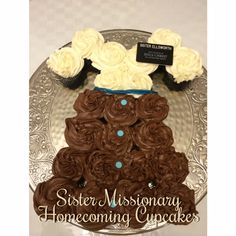 Sister Missionary Homecoming Cupcakes!  Super easy! Missionary Homecoming, Lds Mission, Sister Missionaries, Activity Days, Super Easy, Cake Decorating, Bridal Shower, Sisters, Cupcakes