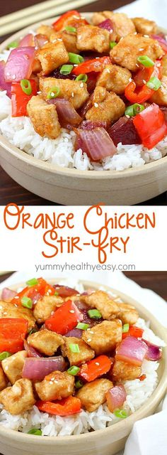 2 Easy Homemade Caramel Popcorn Recipes The Most Incredible Orange Chicken Stir Fry With Pan Seared Chicken, Red Bell Peppers, Onion And A Delicious Sweet And Savory Sauce Served Over Rice. So Easy And So Flavorful Orange Chicken Stir Fry, Easy Orange Chicken, Chicken Stir Fry Sauce, Kitchen Recipes, Cooking Recipes, Paleo Recipes, Asian Recipes, Easy Recipes, Pan Seared Chicken