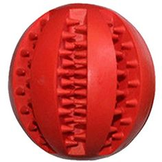 Alamana Pet Dog Chew Training Tooth Cleaning Treats Rubber Ball Toy size M (Red) -- Visit the image link more details. (This is an affiliate link) #DogToys