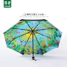 Original Ghibli totoro painting single-deck black coating rain/sun umbrella women, novelty item anime manual parapluie femme