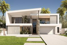 The Camborne %%page%% Beach House Plans, Modern House Plans, Custom Home Plans, Custom Homes, Facade Design, House Design, Surf House, Facade House, House Facades