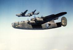 Bombers B-24 in flight to Ploiesti