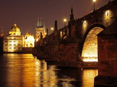 Charles Bridge over the River Vltava at Night, UNESCO World Heritage Site, Prague, Czech Republic, Photographic Print