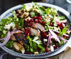 Chicken, burghul & pomegranate salad — Food to Love Eggplant Curry, Roast Eggplant, Spicy Recipes, Salad Recipes, Chicken Recipes, Vegetarian Roast, Vegetarian Recipes, Pomegranate Salad, Pomegranate Molasses