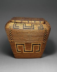 Hamper Date: late 19th century Geography: Canada, British Columbia Culture: Salish Medium: Plant fiber Dimensions: H. 16 1/2 x W. 19 in.