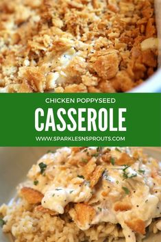 A family favorite casserole...all from scratch...but still super easy and perfect for a family holiday dinner or quick weeknight dinner!  #casserole #poppyseed #chicken #fromscratch #recipe #sparklesnsprouts