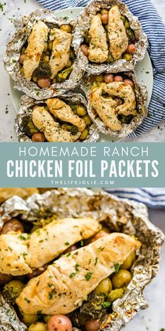 Ranch Chicken Foil Packets make a quick and easy dump dinner. Throw them on the grill or pop them in the oven for a delicious weeknight meal idea that is ready in under 30 minutes! This is a great camping recipe! These juicy chicken breasts come out tender and served on a bed of red potatoes and fresh veggies cooked to perfection with a drizzle of olive oil and mixed with seasoning! This recipe is fun and kids love it too! Chicken Foil Packets, Foil Packet Meals, Dump Dinners, Homemade Ranch, Ranch Chicken, Baked Chicken Recipes, Camping Meals, Weeknight Meals, Veggies