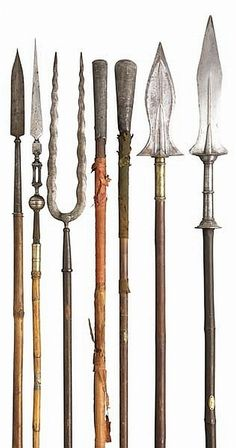 African style spears, These blade shapes are what I'm envisioning for weapons within the world Medieval Weapons, Arm Armor, Fantasy Weapons, Knives And Swords, Rifles, Blacksmithing, Firearms, Archery, Guns