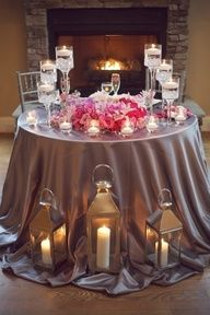 Glamorous Pink and Grey Candlelit Tablescape