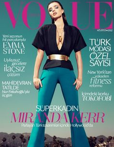 Miranda Kerr graces the August 2012 cover of Vogue Turkey. Shot by Sofia Sanchez and Mauro Mongiello.