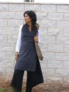 Winter Fleece ASIAN TUNIC-Women's cozy sweater-Empire cut tunic with side slits-Womens clothing