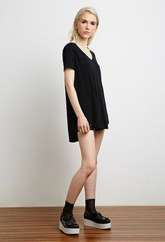 Side-Slit V-Neck Tee | Forever 21 - 2000130642