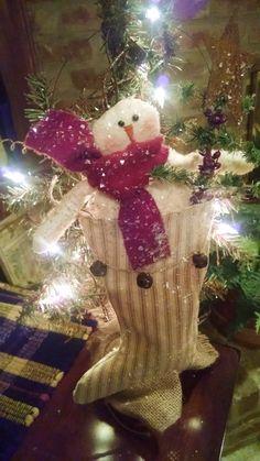 Primitive Handmade Snowman Ticking Stocking by NeedlesAndPrims
