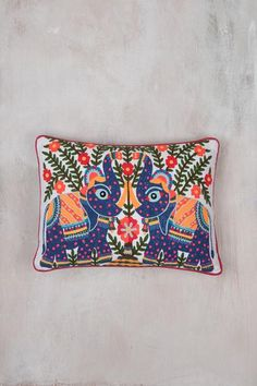 Folky Elephant Embroidered Filled Cushion