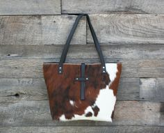Cowhide Tote  Hair on Cowhide Purse  Cowhide Bag  Brown /