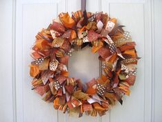 Fall Wreath, Ribbon Door Wreath for Fall Decor, Fabric Wreath, Autumn Front Door Wreaths by AWorkofHeartSA, $75.00