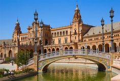 #Sevilla - Brücke am Plaza de Espana - #Drehort für Star Wars, Epidose 2, Angriff der Klonkrieger.