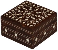 """Bulk Wholesale 4"""" Handmade Square Shaped Wooden Jewelry Box / Trinket Box Designed with Floral Motifs in Acrylic Inlay Art on the Hinged Top Cover – Decorative Keepsake Boxes – Dresser Accessories"""