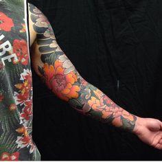 blackgardentattoo: Work in progress by - For. Japanese Peony Tattoo, Japanese Tattoo Designs, Japanese Sleeve Tattoos, Arm Tattoo, Flor Tattoo, Body Art Tattoos, New Tattoos, Tattoos For Guys, Tatoos