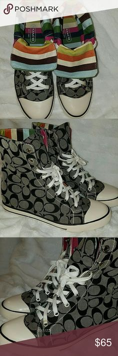 Coach high top sneakers Can be folded down. Excellent condition, only wear is on the back of the heels, see last picture. Very clean. Coach Shoes Sneakers