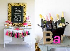 Set up a champagne bar at your next party.
