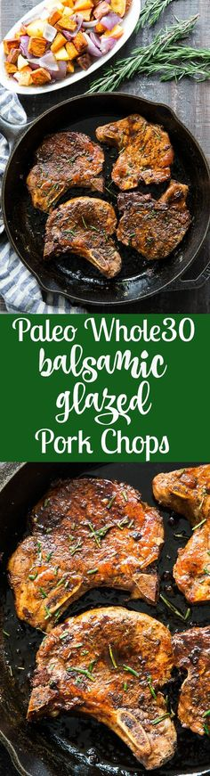 These paleo and Whole30 compliant balsamic pork chops are perfect with a side of roasted sweet potatoes, apples and onions. Easy to make, great for weeknights and family approved!