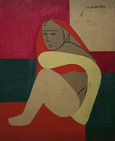 Sitting woman, oil on pasteboard, × 1947 Paula Modersohn Becker, August Macke, Edvard Munch, Franz Marc, Figure Painting, Painting & Drawing, Karl Hofer, Ludwig Meidner, Karl Schmidt Rottluff