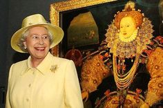 Queen Elizabeth II in front of a painting of Queen Elizabeth I (of course when she reigned, there was no need for a I after her name).