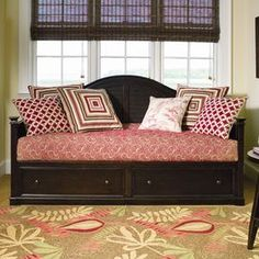 """$1104.95 Arched daybed with two bottom storage drawers.  Product: Daybed, panels and storageConstruction Material: WoodColor: BrownFeatures:  Two storage drawersFits a twin XL mattress - not included Dimensions: 47"""" H x 81"""" W x 42"""" D (overall)"""