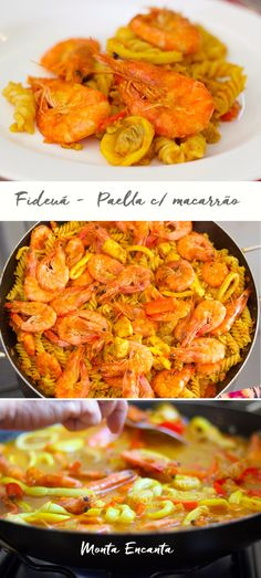 Fideuá de Camarão.Um prato espanhol bem parecido com a paella, A diferença é basicamente a troca do arroz pelo macarrão no preparo. O macarrão é risotado, al dente e cozido …