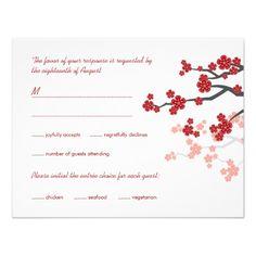 faire part                    Sakura rouge fleurit le double bonheur épousant RS Invitations Personnalisées
