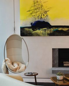 Hanging chair and wall art