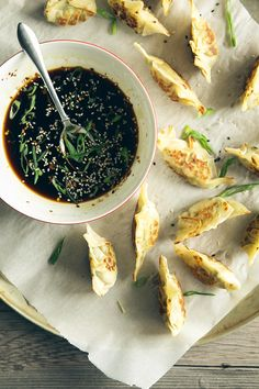 Spring Vegetable Potstickers w/ Sweet Chili Soy Dip by thefirstmess #Potstickers