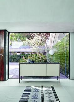 Design Highboard SPACY weiss Hochglanz und Eiche 4 Türen Schrank ...