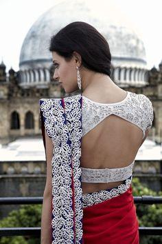 Blue and red sari - Outfit; Blouse Design #desi #indian #pakistani #southasian #wedding #fashion