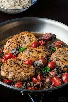 Skinny Chicken Marsala | No Gojis, No Glory - I made this on 7/30/2015. Used Pinot Noir instead of Marsala, corn starch instead of arrowroot, home grown grape tomatoes. Fabulous!!!