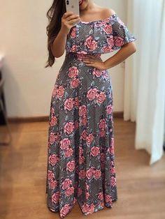 Shop Maxi Dresses Off Shoulder Flounce Floral Maxi Dress African Print Fashion, African Fashion Dresses, African Dress, Chic Outfits, Fashion Outfits, Dress Fashion, Indian Gowns Dresses, Floral Maxi Dress, Maxi Dresses