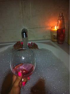 bubble baths, wine, candles & hot pink nailpolish. winning!