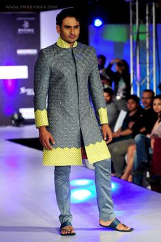 grey sherwani by sagar tenali.