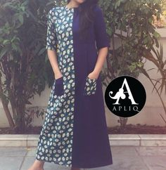 Idea for jazzing up a shift dress. Kurta Designs Women, Salwar Designs, Blouse Designs, Kurti Patterns, Dress Patterns, Indian Attire, Indian Wear, Casual Dresses, Fashion Dresses