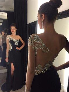 Black Sheath/Column Chiffon Tulle Crystal Detailing One Shoulder Long Sleeve Prom Dress CA$225.99