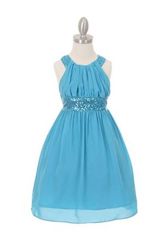 Girls Dress Style 5004- TURQUOISE Sleeveless Chiffon and Sequin Dress with Cross Back