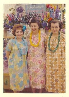 1960's house dresses. MuMus...still comfortable and very much the rage back then.  My mom had several.