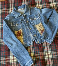 OOAK Embellished Denim Jacket Frayed Cropped Style Boho Chic Cowgirl Chic Romantic Prairie Gypsy Woodland Upcycled Jeans Jacket Size S Etsy shop https://www.etsy.com/listing/251115796/ooak-embellished-denim-jacket-frayed