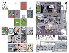 Hawkeye #6 (2012). Matt Fraction, writer; David Aja, artist; Matt Hollingsworth, colorist. Seems like 'modernist' influences from David Mazzucchelli and Chris Ware are making it into contemporary superhero comics...